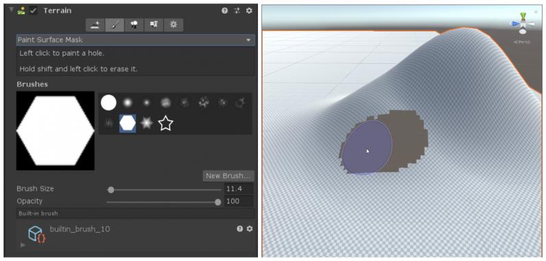Используя инструмент Paint Surface Mask, выберите кисть, а затем закрасьте отверстия над поверхностью так же, как вы рисуете материал. — Unity 2019.3 Beta доступна для тестирования! — Unity — DevTribe: инди-игры, разработка, сообщество (blogs.unity, translate)