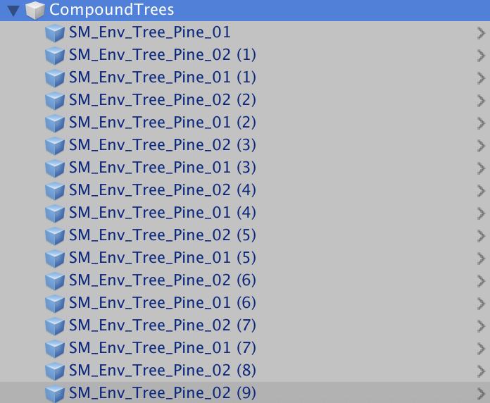 Пример структуры объектов — Сшиватель мешей для Unity — Unity — DevTribe: инди-игры, разработка, сообщество (mesh composer, tool, Скрипт, скрипт)