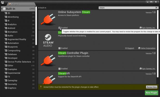 Окно плагинов и Online Subsystem Steam в нём — Внедрение Steamworks SDK в Unreal Engine — Unreal Engine — DevTribe: инди-игры, разработка, сообщество