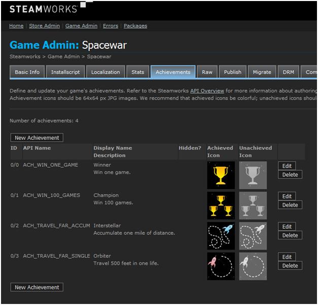 Список достижений Spacewar — Добавление достижений Steam в Unreal Engine 4 — Unreal Engine — DevTribe: инди-игры, разработка, сообщество