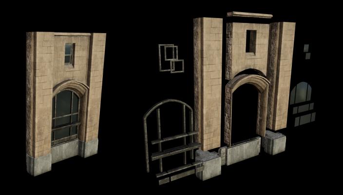 Слева- Одна секция стены, состоящая из 31 Geometry Collections; Справа - разобранный вид стены — Unreal Engine 4.23 - Часть 1 — Unreal Engine — DevTribe: инди-игры, разработка, сообщество (translate, update)