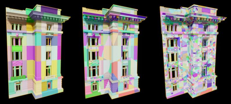 Слева - Оригинальная модель; Центр - Разломы по всей модели; Справа - Дополнительные разломы только по большим частям — Unreal Engine 4.23 - Часть 1 — Unreal Engine — DevTribe: инди-игры, разработка, сообщество (translate, update)