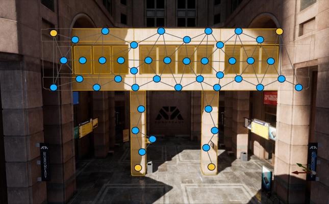 Синий - Потенциал для Chaos; Желтый - Закрепленные узлы — Unreal Engine 4.23 - Часть 1 — Unreal Engine — DevTribe: инди-игры, разработка, сообщество (translate, update)