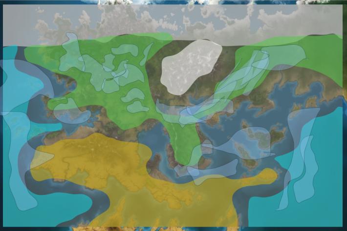 Так выглядит карта климатических зон с погодными областями (в данном случае - дождь) — На-Заметку. Заметка №1 Погодная система — Game Design — DevTribe: инди-игры, разработка, сообщество (na-zametku, На-заметку, на-заметку)