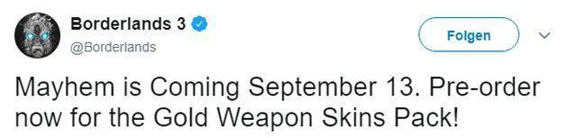 Удалённый твит — Borderlands 3 выйдет 13 сентября эксклюзивом в EGS — Новости — DevTribe: инди-игры, разработка, сообщество